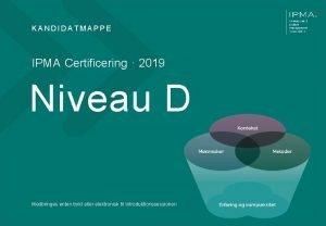 KANDIDATMAPPE IPMA Certificering 2019 Niveau D Medbringes enten
