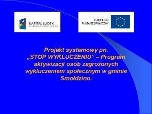 Projekt systemowy pn STOP WYKLUCZENIU Program aktywizacji osb