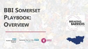 BBI SOMERSET PLAYBOOK OVERVIEW THE PLAYBOOK Stakeholders Building