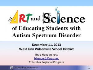 of Educating Students with Autism Spectrum Disorder December