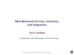 MottBerezinsky formula instantons and integrability Ilya A Gruzberg