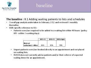 baseline The baseline 8 1 Adding waiting patients