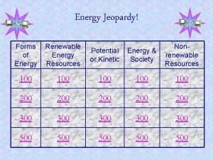 Energy Jeopardy Forms of Energy Renewable Energy Resources