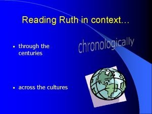Reading Ruth in context through the centuries across