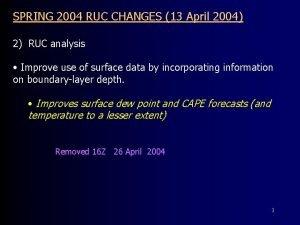 SPRING 2004 RUC CHANGES 13 April 2004 2