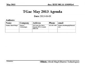 May 2013 doc IEEE 802 11 130392 r