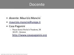 Docente docente Maurizio Mancini maurizio manciniunige it Casa