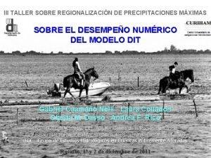III TALLER SOBRE REGIONALIZACIN DE PRECIPITACIONES MXIMAS SOBRE