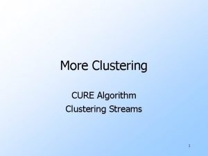 More Clustering CURE Algorithm Clustering Streams 1 The