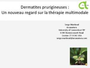 Dermatites prurigineuses Un nouveau regard sur la thrapie