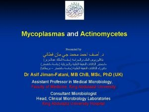 MYCOPLASMAS Characteristics n Lacking cell wall n n
