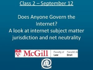 Class 2 September 12 Does Anyone Govern the
