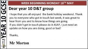 WEEK BEGINNING MONDAY 18 TH MAY Dear year