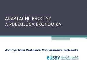 ADAPTAN PROCESY A PULZUJCA EKONOMIKA doc Ing Iveta