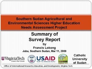Southern Sudan Agricultural and Environmental Sciences Higher Education