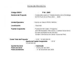FICHA DE PROYECTO Cdigo OEECI P 04 2003