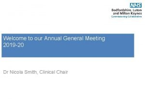 Welcome to our Annual General Meeting 2019 20