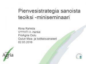 Pienvesistrategia sanoista teoiksi miniseminaari Riina Rahkila VYYHTI II