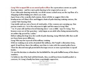 Gong Yifei swapped life as an armed police
