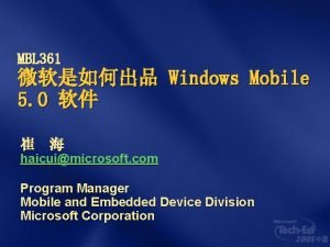MBL 361 Windows Mobile 5 0 haicuimicrosoft com
