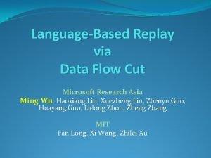 LanguageBased Replay via Data Flow Cut Microsoft Research