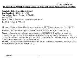 IEEE 802 15 10 0007 04 Project IEEE