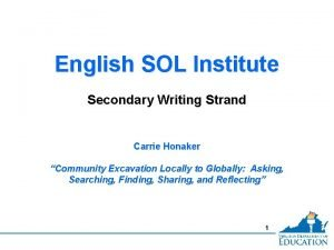 English SOL Institute Secondary Writing Strand Carrie Honaker