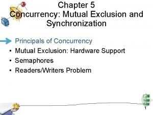 Chapter 5 Concurrency Mutual Exclusion and Synchronization Principals