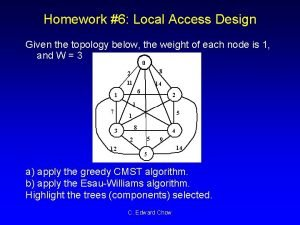 Homework 6 Local Access Design Given the topology