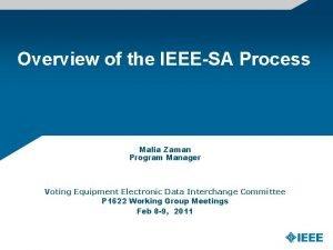 Overview of the IEEESA Process Malia Zaman Program