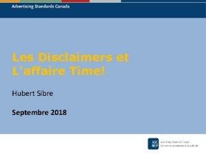 Les Disclaimers et Laffaire Time Hubert Sibre Septembre
