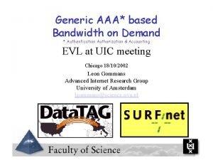 Generic AAA based Bandwidth on Demand Authentication Authorization