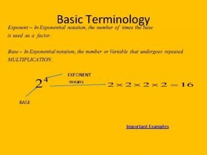 Basic Terminology EXPONENT means BASE Important Examples IMPORTANT
