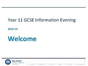 Year 11 GCSE Information Evening 2018 19 Welcome