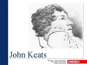 John Keats Performer Culture Literature Marina Spiazzi Marina