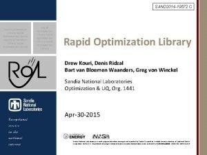 SAND 2014 19572 C Rapid Optimization Library Rapid