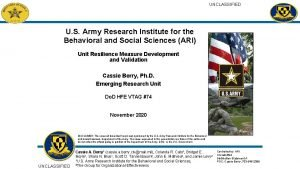 UNCLASSIFIED U S Army Research Institute for the
