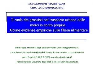 XXXI Conferenza Annuale AISRe Aosta 20 22 settembre