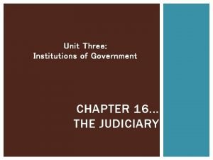 Unit Three Institutions of Government CHAPTER 16 THE