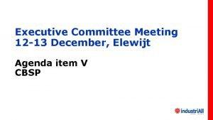 Executive Committee Meeting 12 13 December Elewijt Agenda