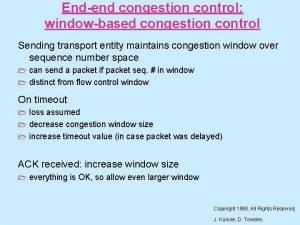 Endend congestion control windowbased congestion control Sending transport