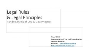 Legal Rules Legal Principles Fundamentals of Law Government