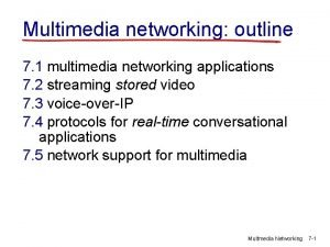 Multimedia networking outline 7 1 multimedia networking applications