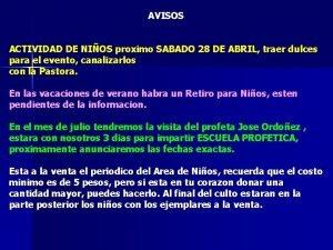 AVISOS ACTIVIDAD DE NIOS proximo SABADO 28 DE