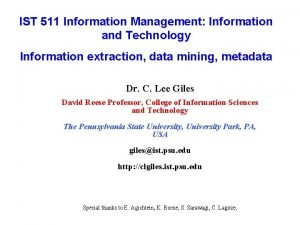 IST 511 Information Management Information and Technology Information