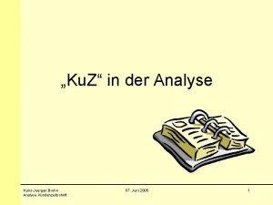 Ku Z in der Analyse HansJuergen Bruhn Analyse