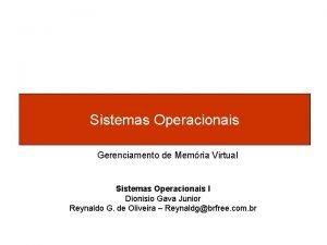 Sistemas Operacionais Gerenciamento de Memria Virtual Sistemas Operacionais
