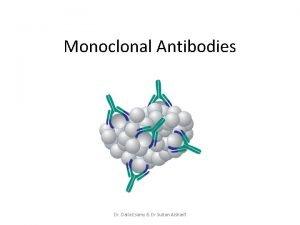 Monoclonal Antibodies Dr Dalia Esamy Dr Sultan Alsharif