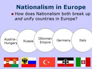 Nationalism in Europe n How does Nationalism both