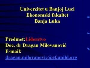 Univerzitet u Banjoj Luci Ekonomski fakultet Banja Luka